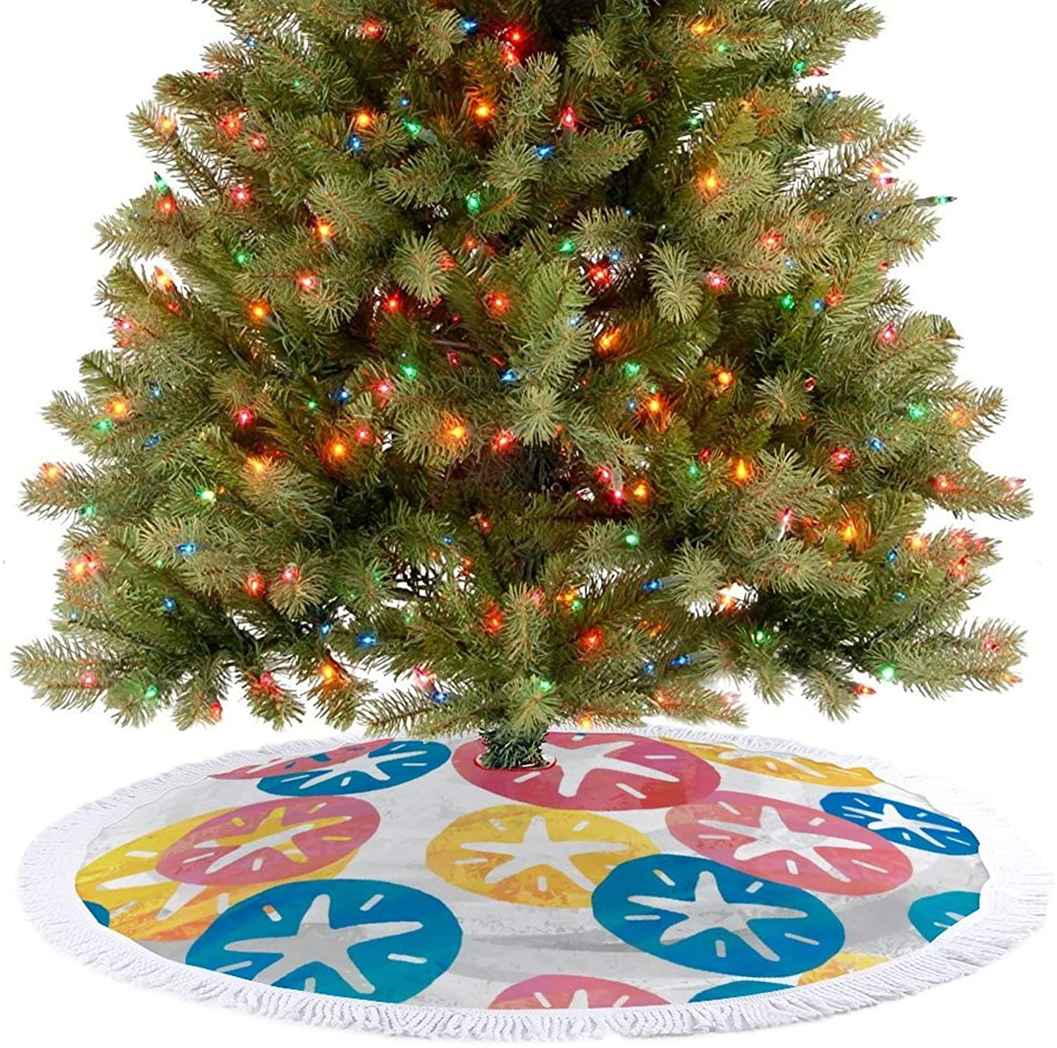 JHSLAJ Sand Dollar Yellow Red Blue Pattern Christmas Tree Skirt for Xmas New Year Holiday Decorations Indoor or Outdoor