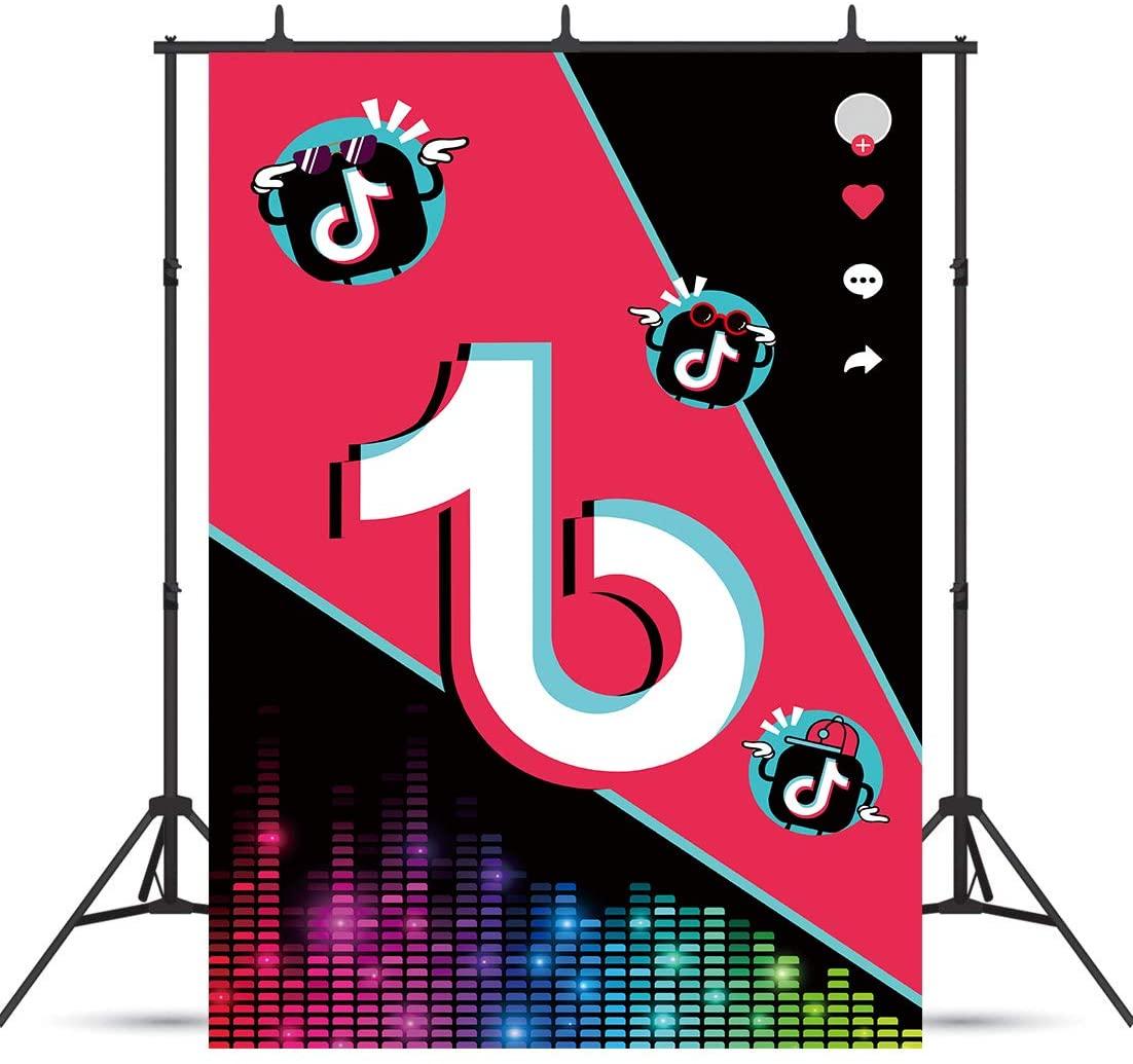 Homewelle TIK TOK Multicolored Audio Backdrop 5Hx3W Feet Photography Backgrounds Colorful Video Props Music Theme Party Celebration Decor Photo Shoot Vinyl Cloth