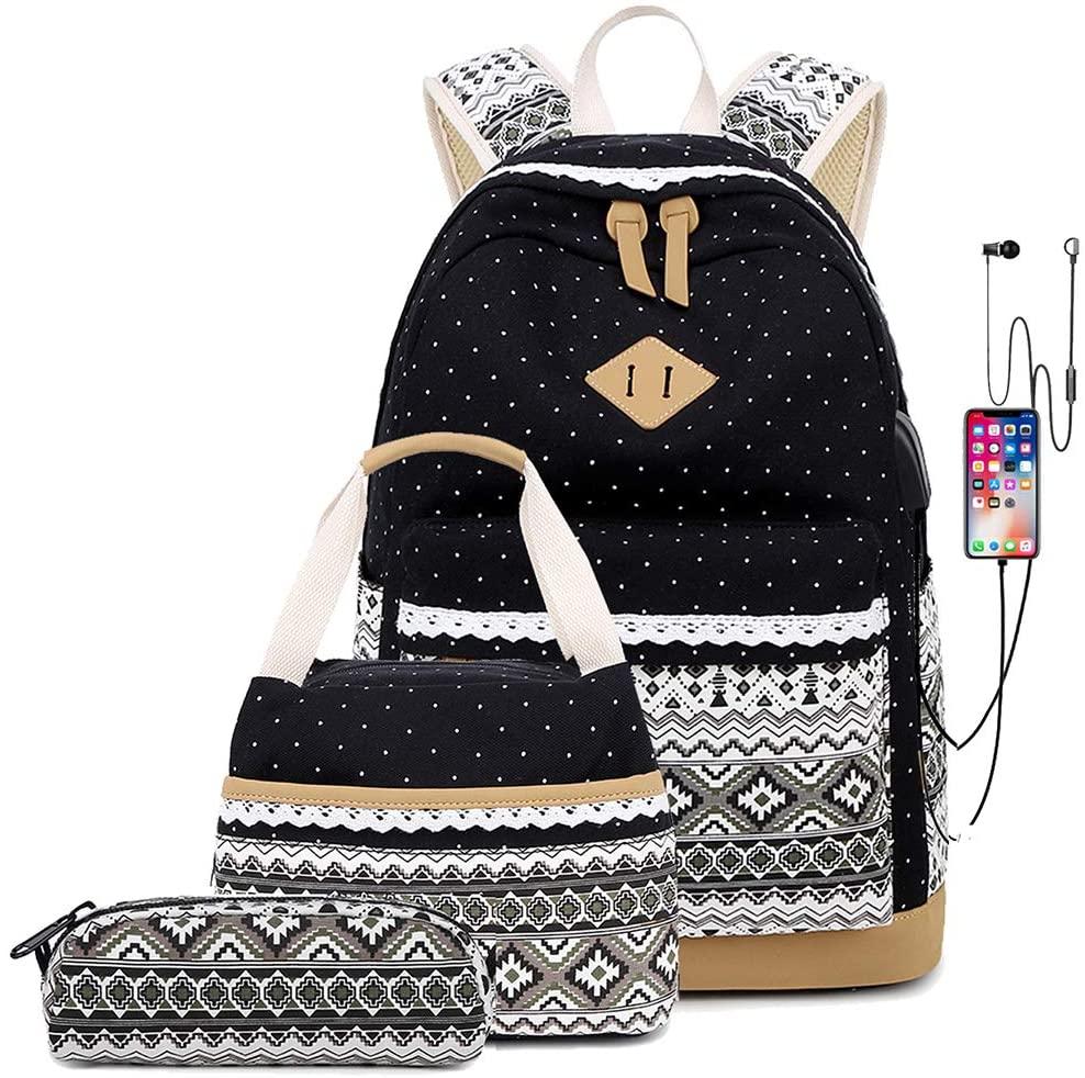 Teens School Backpacks for Girls Bookbags Lightweight Canva Schoolbag wih USB Charging port Lunch bag (Black)