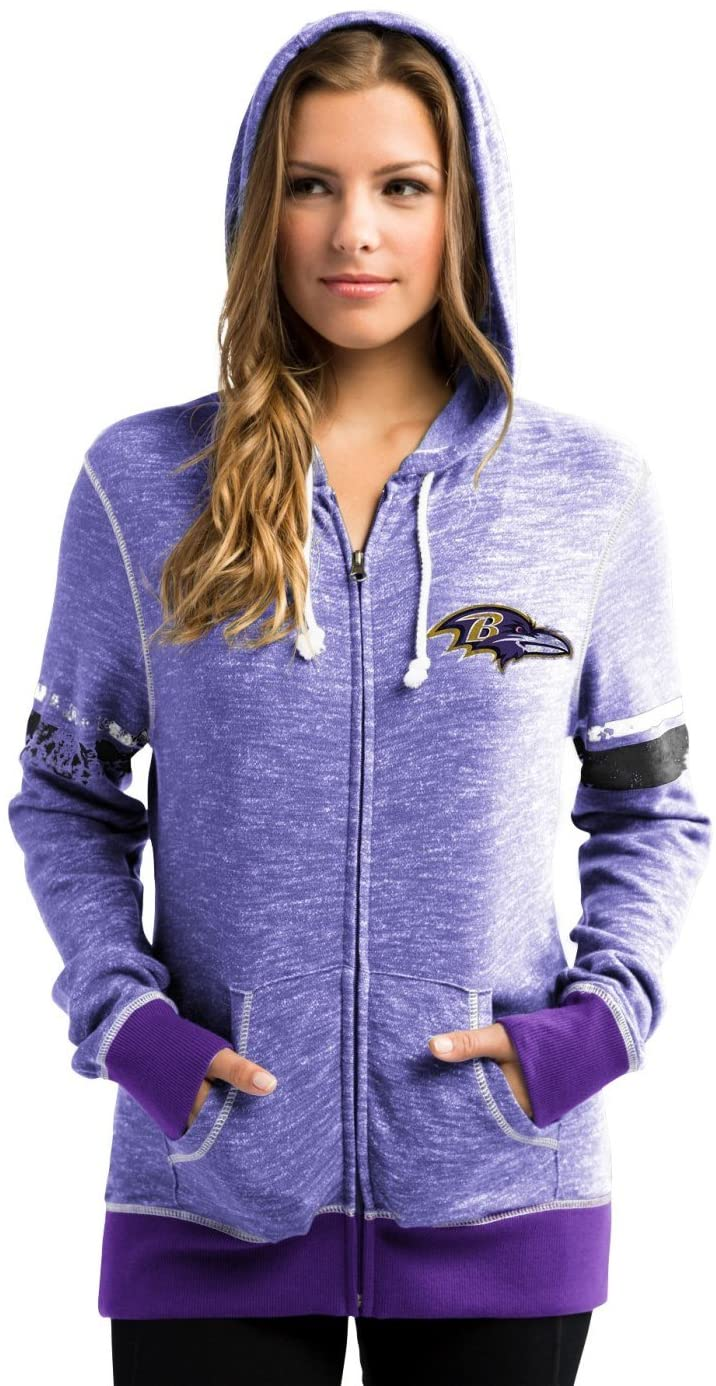 Majestic Baltimore Ravens Womens Athletic Tradition Zip-Up Hooded Sweatshirt