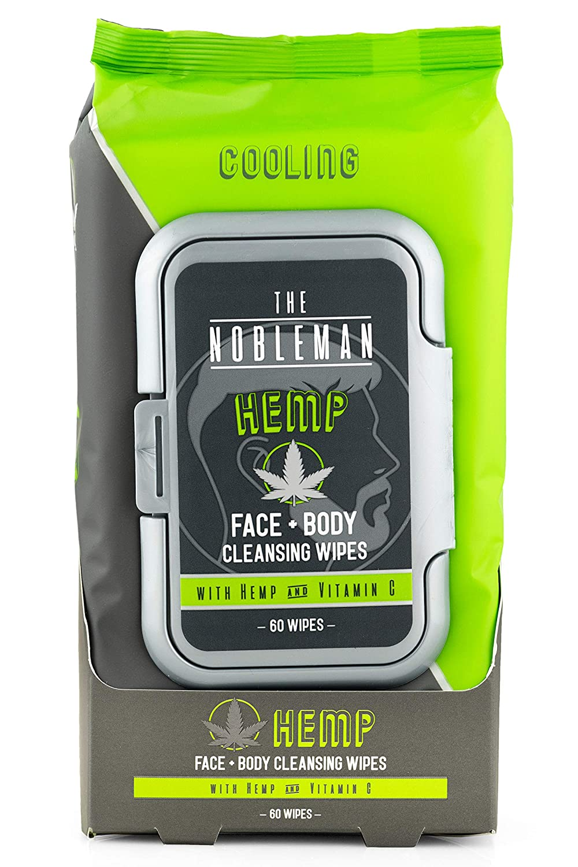 Men's Hemp Face + Body Cleansing Wipes - 60ct