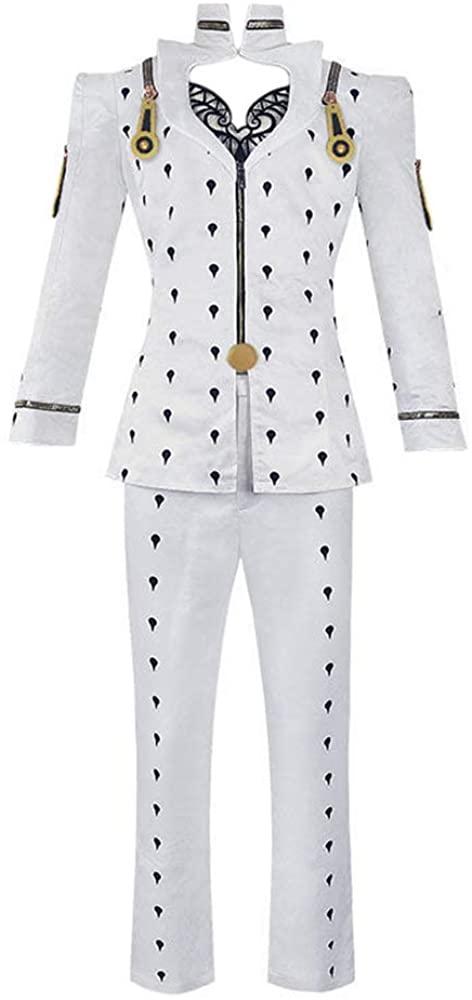 JoJo Bruno Bucciarati Cosplay Costume Outfit Anime White School Uniform Suits