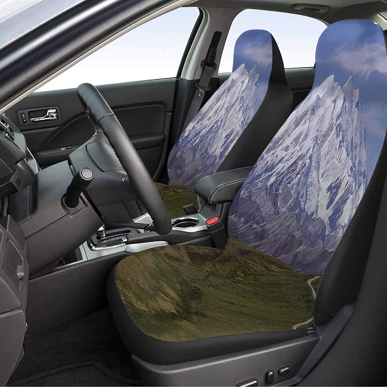 Fit Car Seat Covers 2 Piece, Alaska Auto Seat Cover - McKinley Mountain in Denali National Park in Alaska Scenic Landscape, Fern Green White Sky Blue