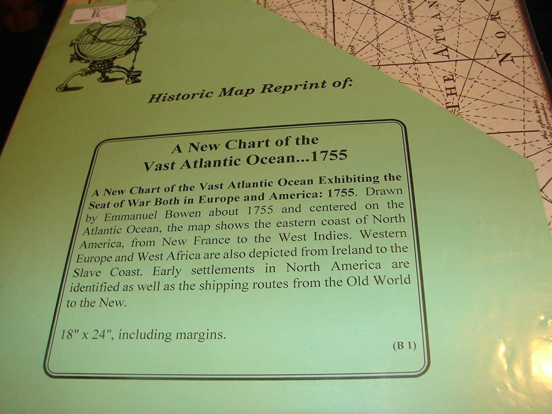 Historic Map Reprint Atlantic Ocean 1755 War Europe America
