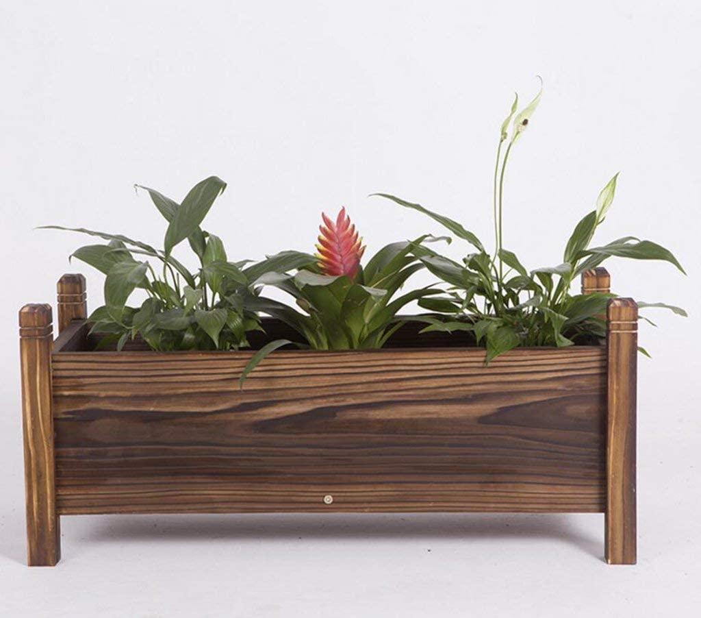 cww Rectangular Wood Flower Box, Wooden Flowerpot Balcony Vegetable Basin Large Wooden Flower Trough (Size : 60cm)