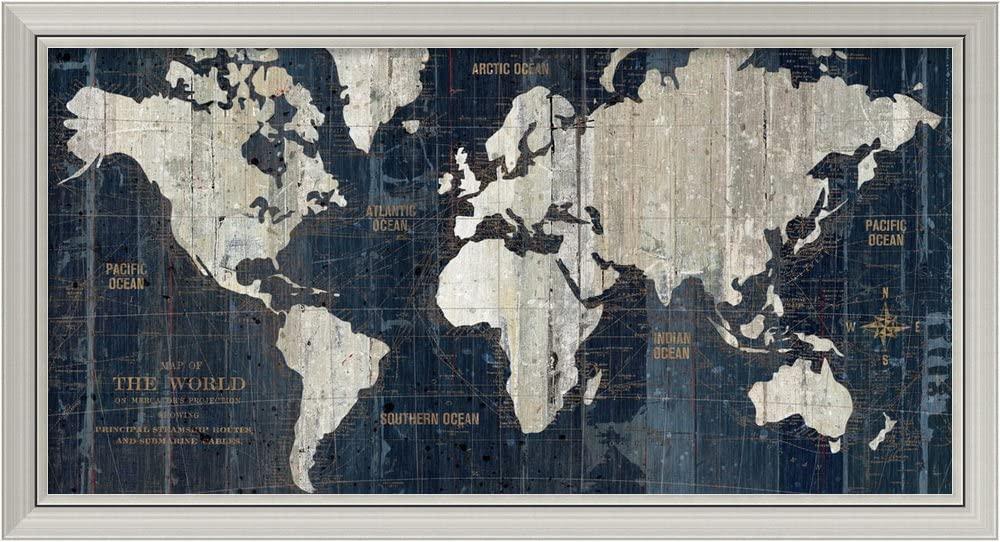 Framed Wall Art Print Old World Map Blue by Wild Apple Portfolio 43.12 x 23.50 in.