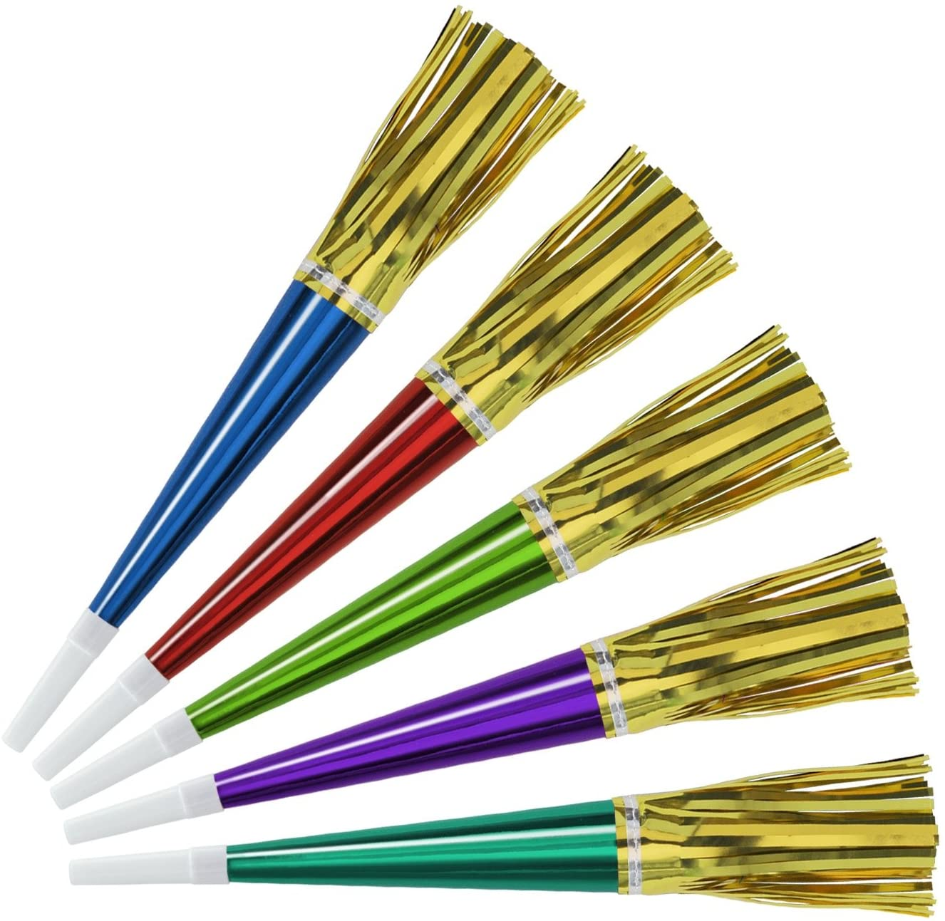 Beistle Foil Horns with Metallic Tassel Party Favors, 9-Inch, 100 Horns Per Package