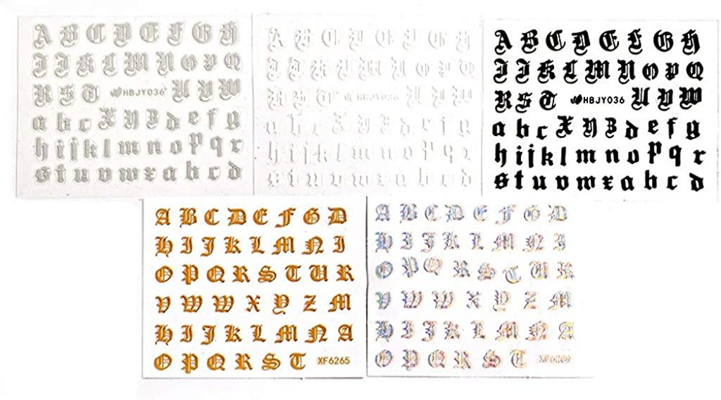 JSPOYOU 5PCS Nail Art Stickers Letter Reflections Tape Adhesive Foils DIY Decoration