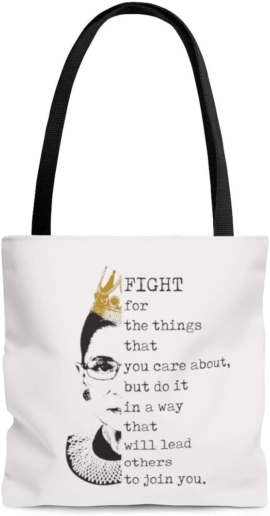 Inspiration Gift Fight for The Things That You Care Ruth Bader Ginsburg AOP Tote Bag – Shoulder Bag – Shopping Bag 18x18 Gifts for Women, Wife, Girlfriend On Christmas, Birthday, Anniversary