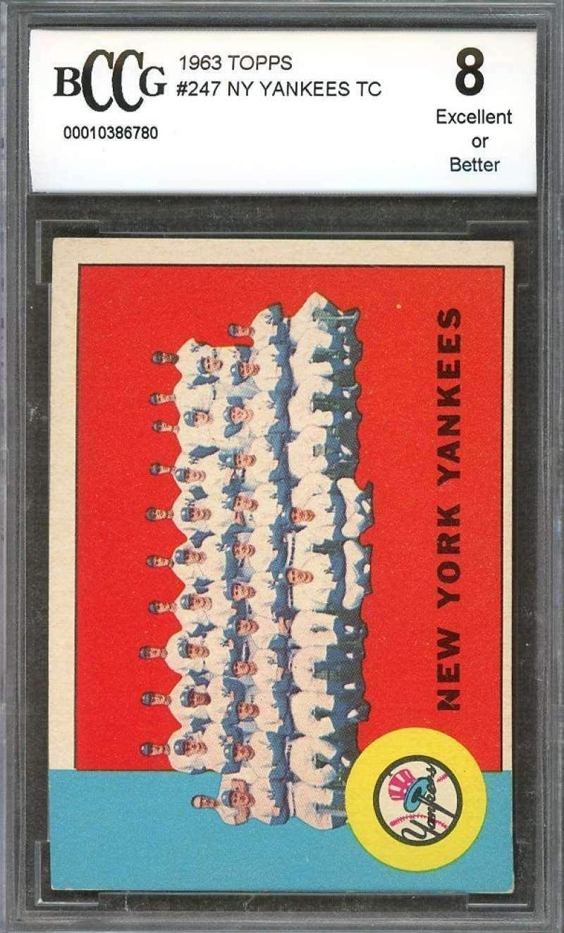 Yankees Team Card 1963 Topps #247 W/Mantle And Maris BGS BCCG 8 - Slabbed Baseball Cards