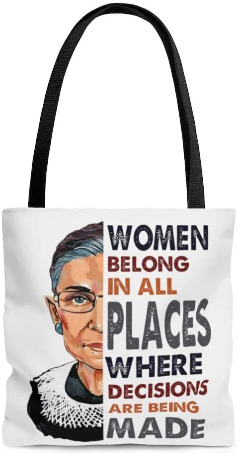 Motivational Quotes Women Belong in All Places Where Decisions are Being Made RBG AOP Tote Bag – Shoulder Bag – Shopping Bag 13x13 Gifts for Women, Wife, Girlfriend On Christmas, Birthday, Anniversar