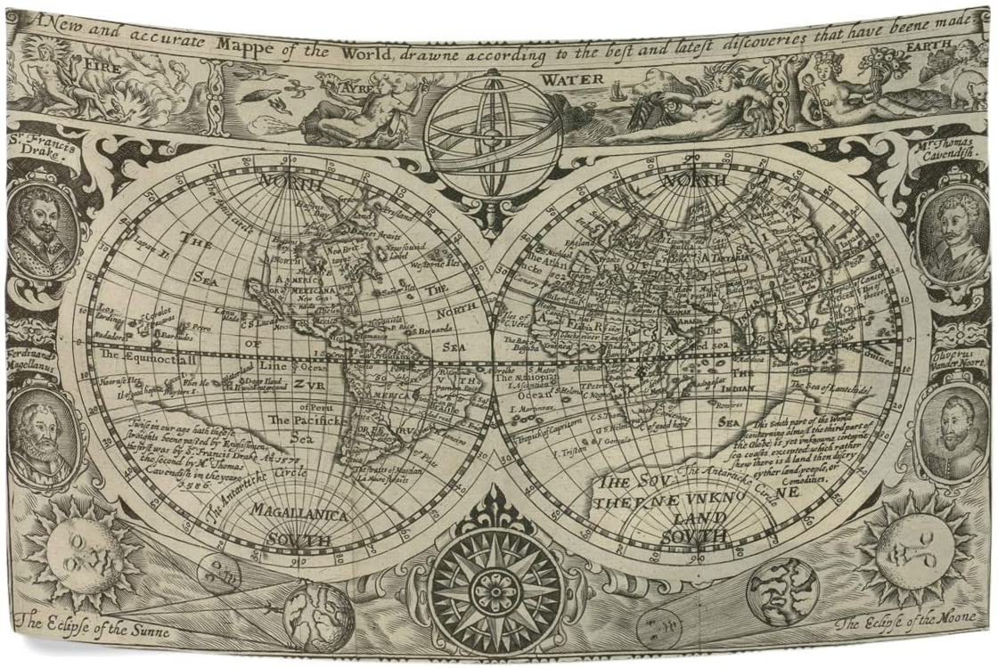 NOAON 90x60 Inch Tapestry Wall Hanging Art Home Living Room Bedroom Dorm Decor - Art Antique World Map