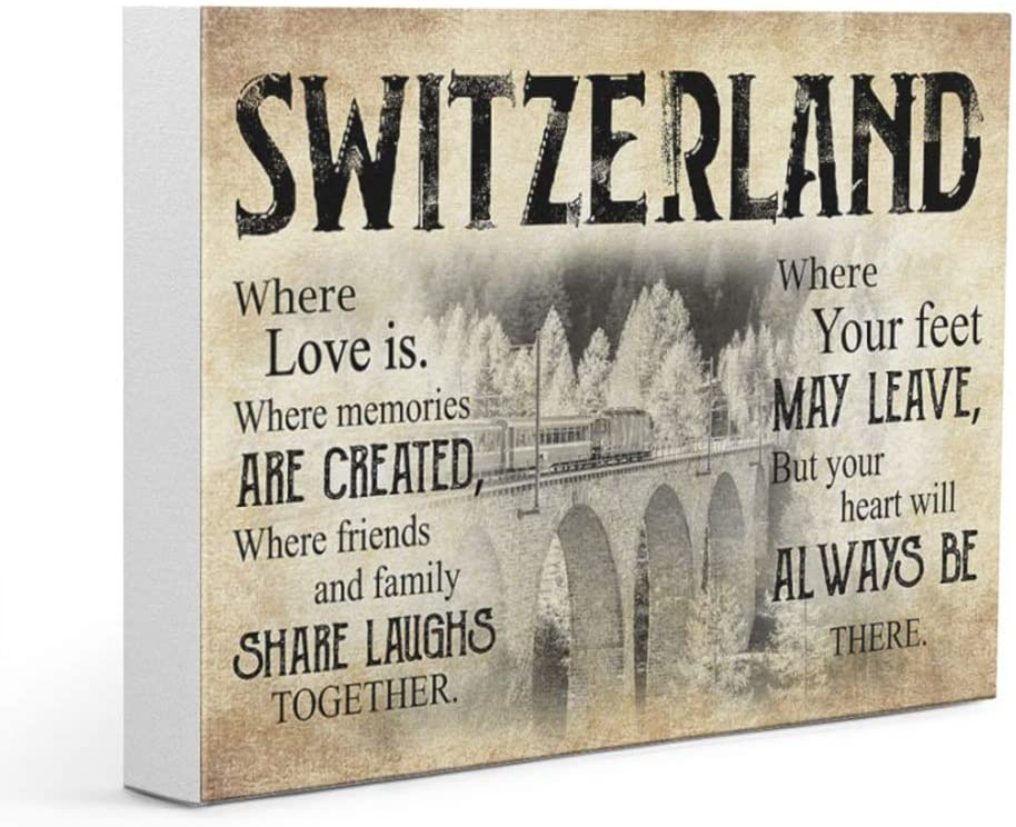 Switzerland Where Your Feet May Leave But Your Heart Will Always Be There Horizontal Poster Canvas Decor, Home Decor, Office Decor, Poster Canvas Decor by Living Room