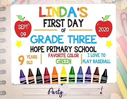 GC First Day of Kindergarten White Chalkboard Style Photo Prop Banner Tin Sign Reusable Back to School Any Grade Sign Customizable with Liquid Chalk Markers 8x12 inches Sign