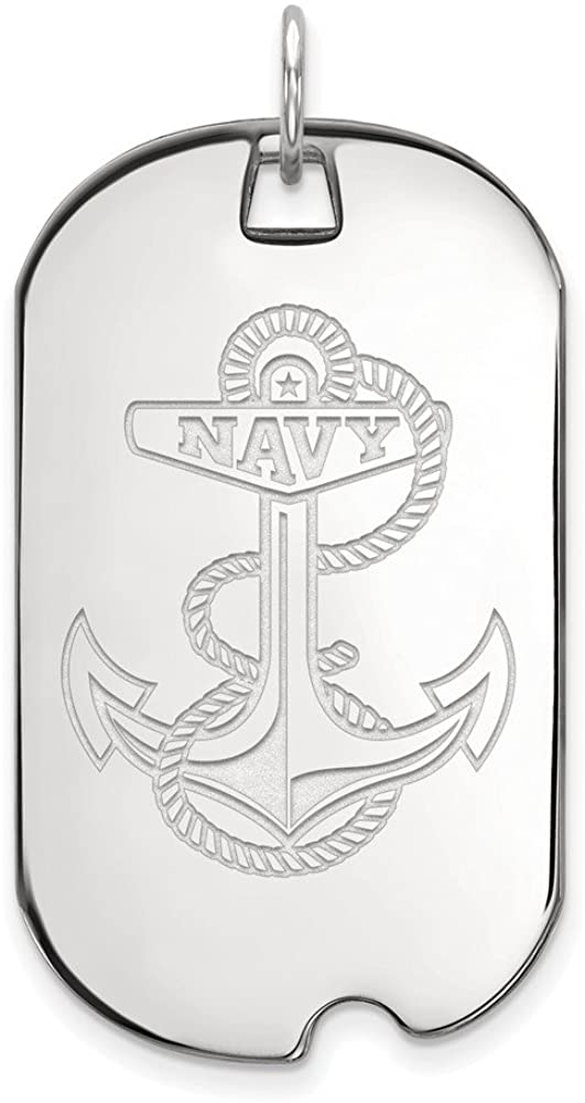 Solid 14k White Gold Navy Large Dog Tag