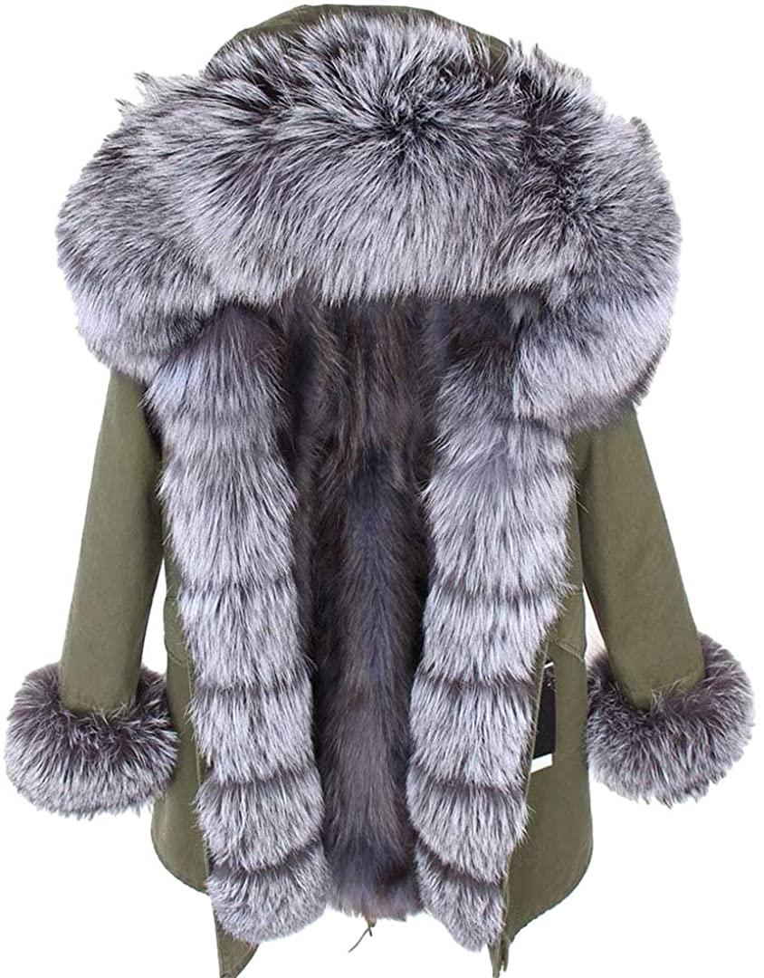 Real Fur Coat Women Long Plus Size Women Natural Fox Fur Liner Jacket Large Parka Outerwear Streetwear Detachable Green Silver XL
