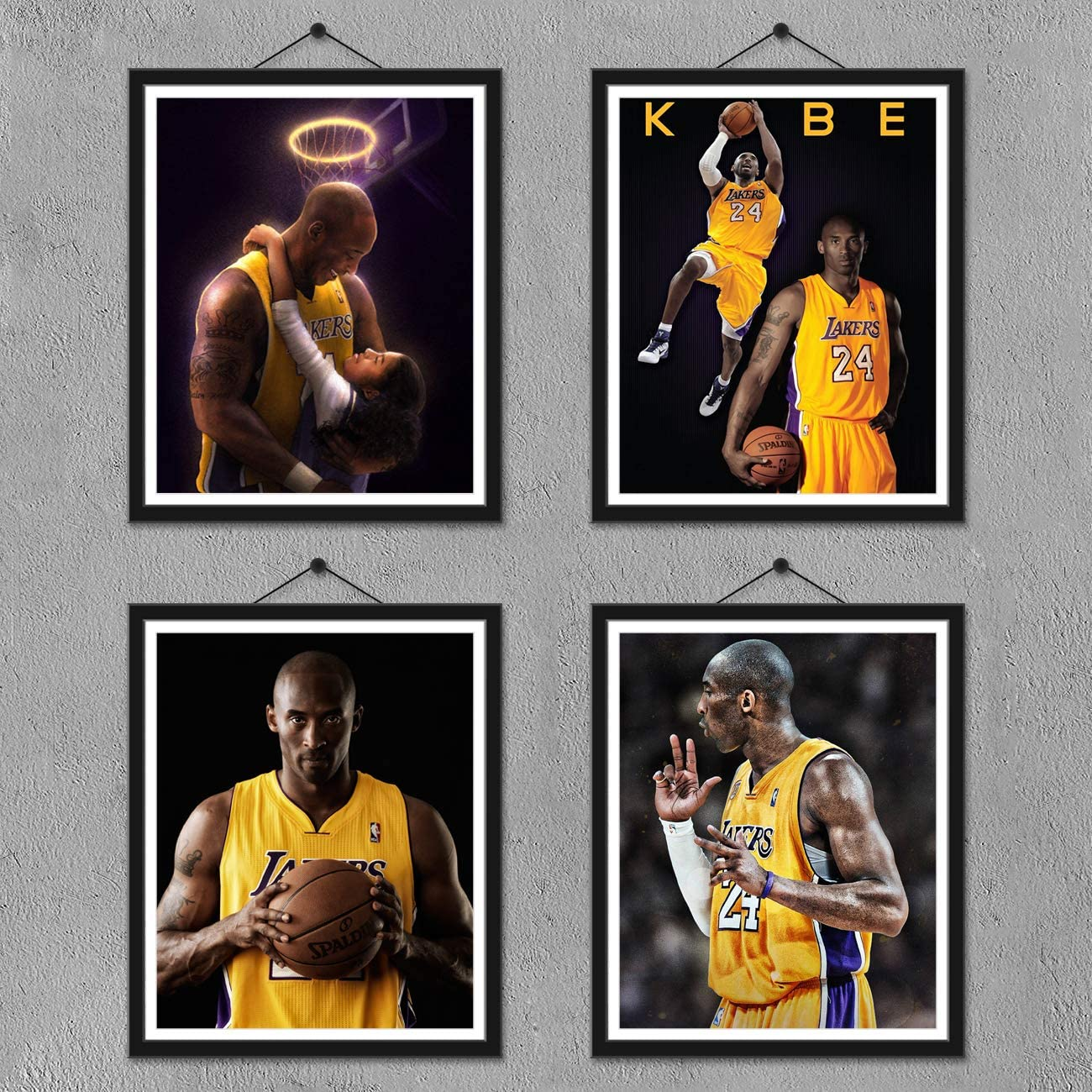 FUNHUA Kobe Bryant and Gigi Posters Canvas Wall Art Bedroom Basketball Player Sports Painting Print (No frame, 8x10 Inch)