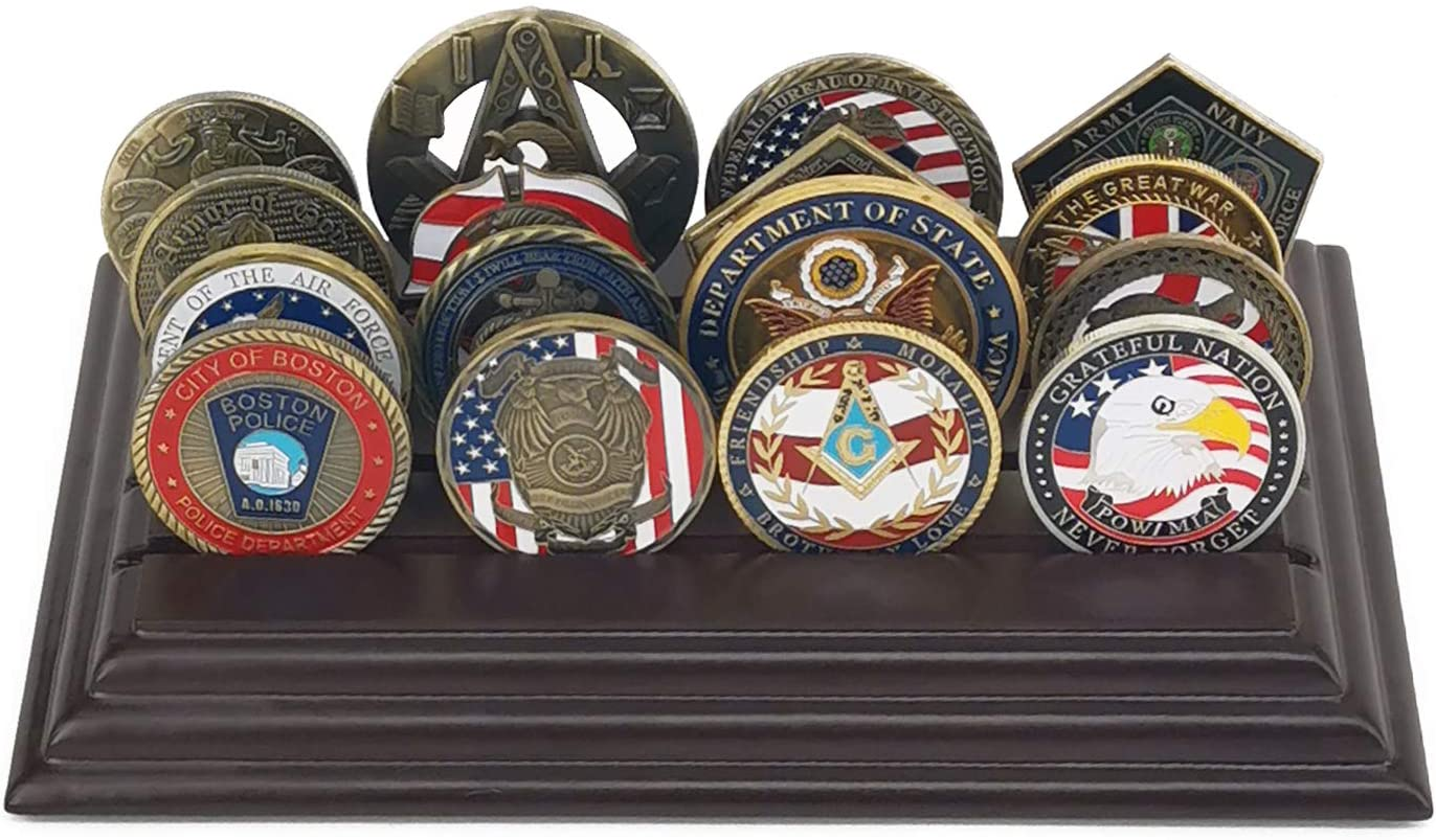 LZWIN 4 Rows Coin Holder, US Army Military Collectible Challenge Coin Display Case Wood Stand, Holds 16-20 Coins