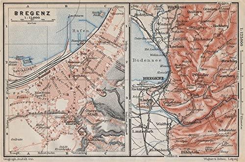 BREGENZ town city stadtplan and environs. Österreich Austria karte - 1910 - old map - antique map - vintage map - Austria map s