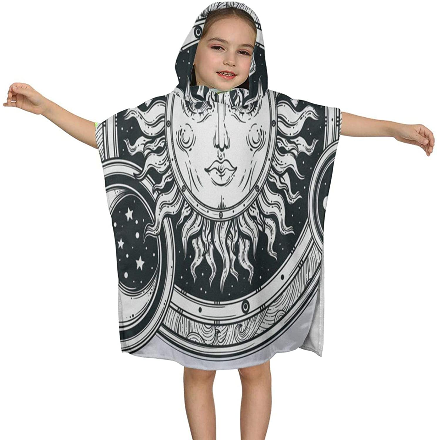 N\ A Hooded Bath Towels for Kids Girls Boys Vintage Hand-Draw Sun Black and White Microfiber Soft Bathroom Towel Wrap Baby Toddler Beach Pool Swim Bathing Towels Absorbent Bathrobes Cover Up Cape