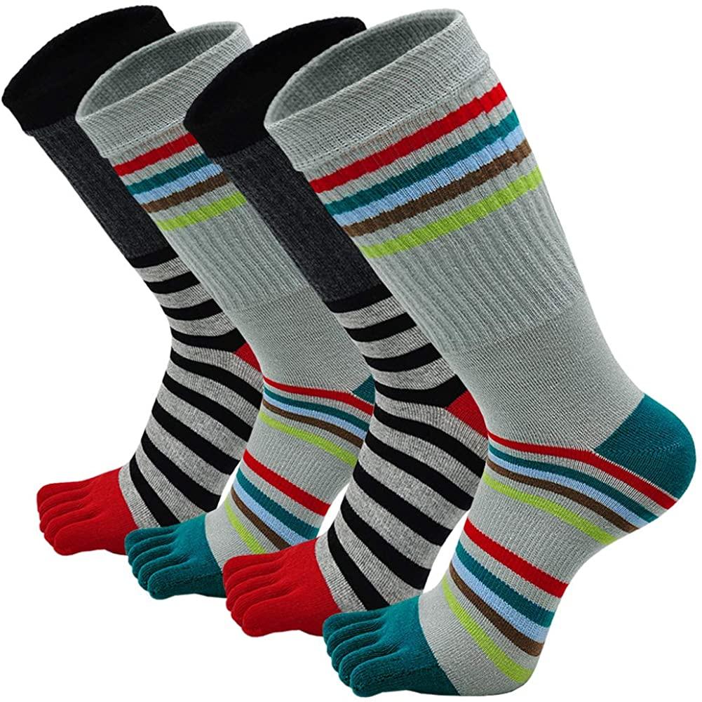 Mens Toe Socks Five Finger Cotton Crew Sock Man Athletic Sports Running Ankle Toe Socks