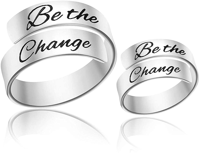 TUSHUO Custom Partner Engraving Letter Rings of Stainless Steel for Lovers