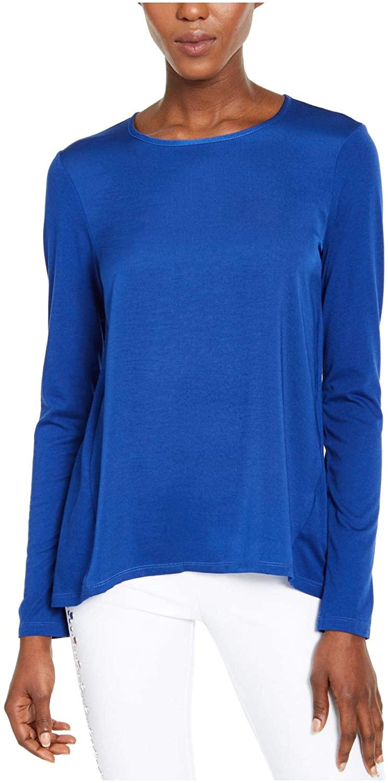 Michael Kors Womens Blue Long Sleeve Jewel Neck Top Size PS