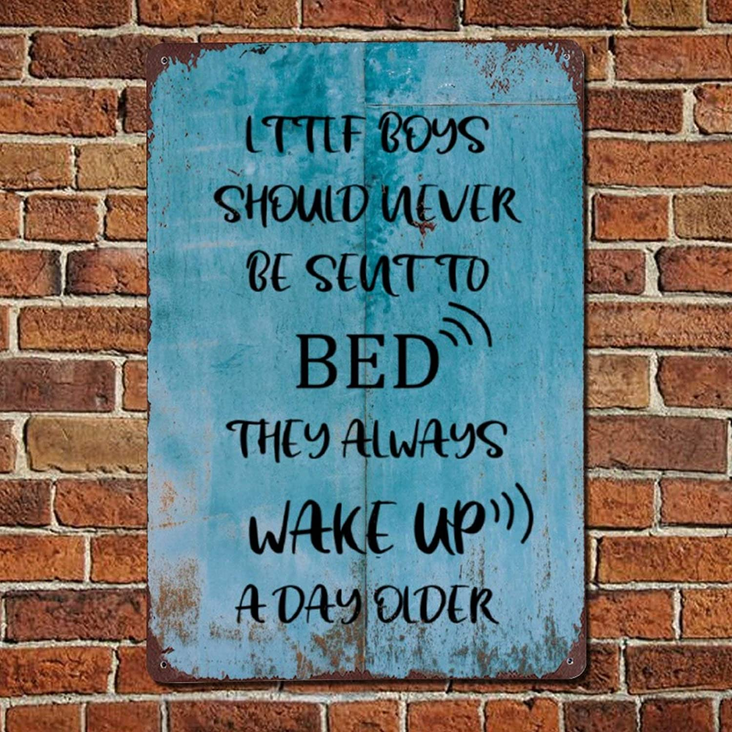 Little Boys Should Never Be Sent to Bed They Always Wake Up Vintage Quote Metal sign,Retro Saying words Sign,Rustic Inspirational quotes Bar Men Cave Garden Wall art,Farmhouse Aluminum Sign,home deco
