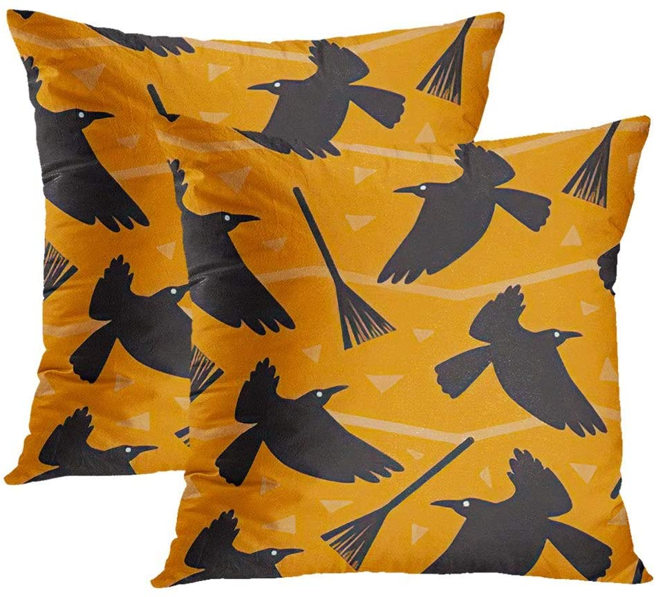 Ajckly Halloween Broom Pillowcases, Ravens and Witchs Broom On an Orange for Scary Halloween Stock Throw Pillow Cover, Hidden Zipper Pillowcases for Living Room Sofa Bed Couch, 20x20 Inch, 2PCS