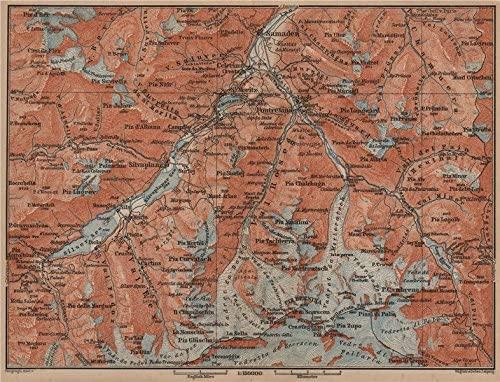 UPPER ENGADINE. St Moritz Celerina Pontresina Sils-Maria Bernina Range - 1899 - old map - antique map - vintage map - Switzerland map s