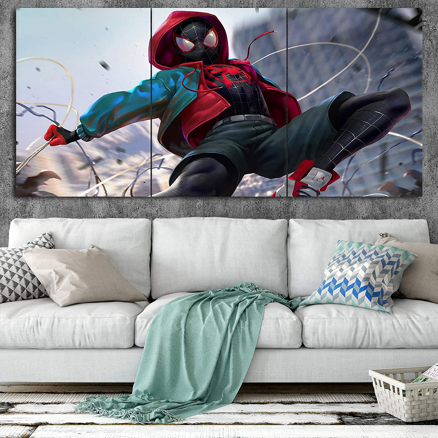 Spiderman Miles Morales C Canvas Posters Home Decor Wall Art 3 Pieces Paintings for Living Room HD Prints Moive Pictures
