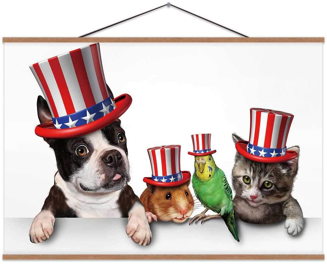 Day Pets Celebrating The United States Fourth of July Holiday with A Dog Cat Bird and Hamster Wearing Hats American Stars Stripes. Poster for Decor 12x8in