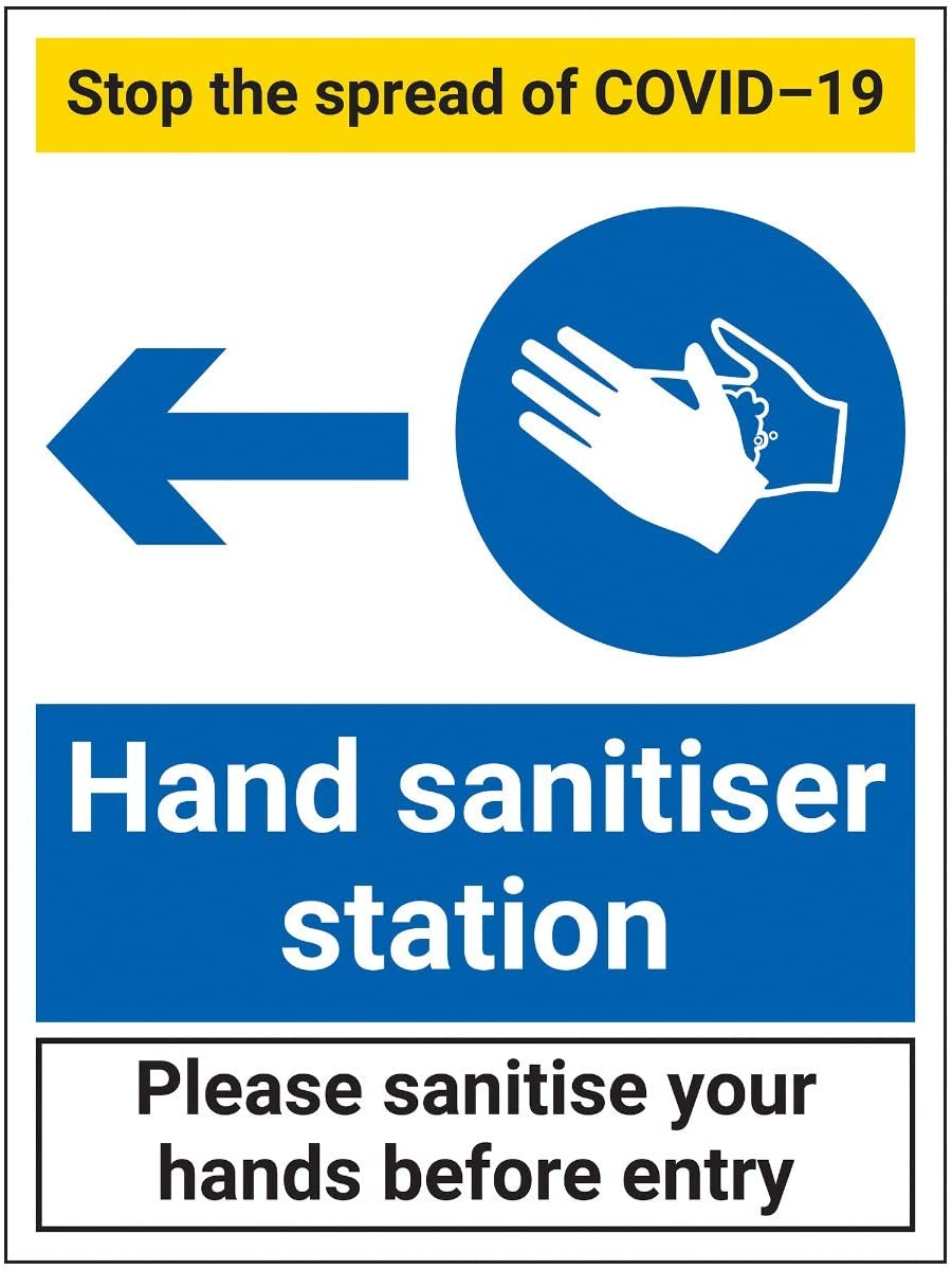 V Safety CV289BC-R Vsafety Stop The Spread-Hand Sanitiser Station Left-300x400mm-1mm Rigid Plastic, 300x400mm