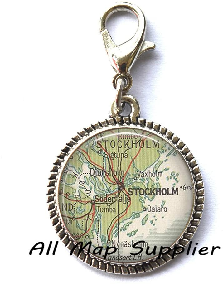 AllMapsupplier Beautiful Zipper Pull,Stockholm map Zipper Pull, Stockholm map Charming Zipper Pull, Stockholm Charming Zipper Pull, Stockholm Zipper Pull, map Jewelry, map Jewellery ,AO221