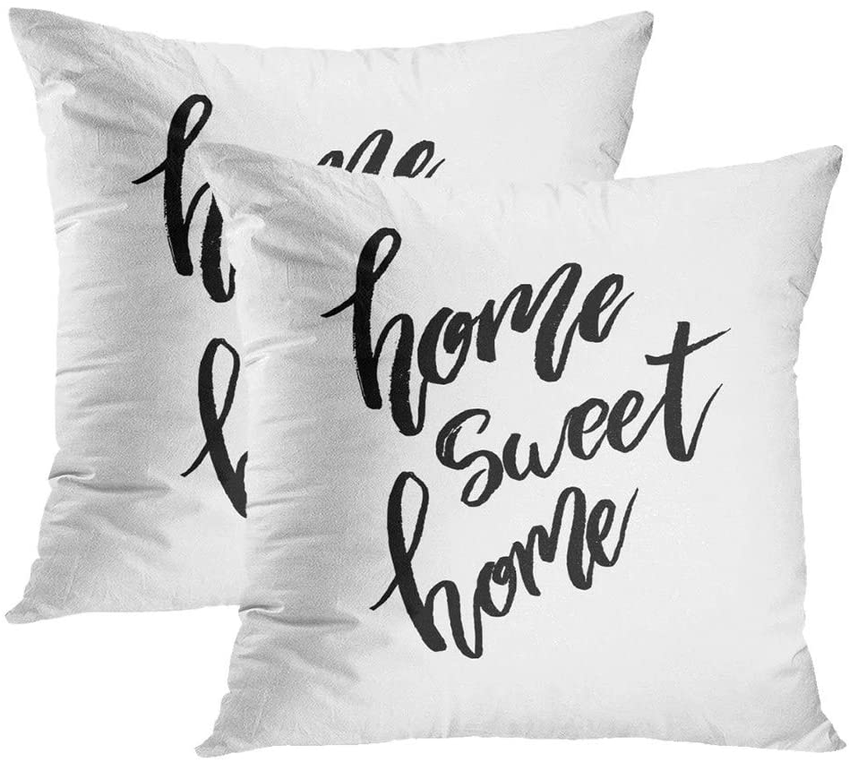 Janyho Set of 2 Throw Pillow Covers Abstract Sweet Lettering Ink House Modern Brush Calligraphy Stock Living Room Sofa Bedroom Polyester Hidden Zipper Pillowcases Cushion Cases 20x20 Inch