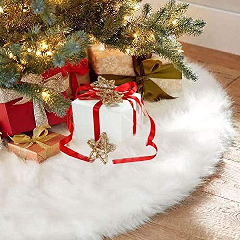 CHICHIC 48inch Christmas Tree Skirt FauxFurXmas Tree Skirt Christmas Decorations Holiday Tree Ornaments Tree Decoration for Christmas Home Decorations, Xmas Party Holiday Decorations, SnowWhite