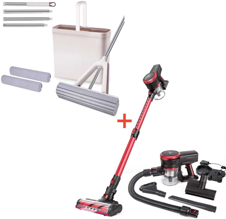 MOOSOO Sponge Mop and Bucket Set MP22+ Cordless Vacuum Cleaner 23Kpa Stick Handheld Vacuum with Brushless Motor K17