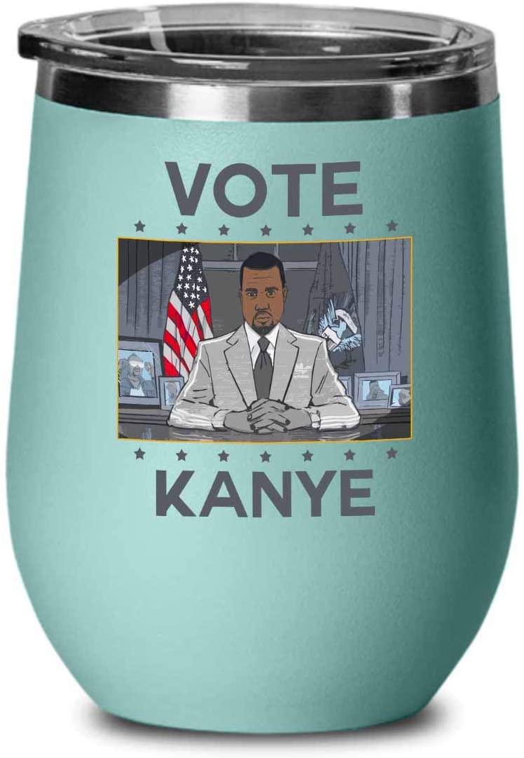 Kanye West Wine Tumbler - Vote For Kanye West President Usa - Kanye West Bro President Usa 2020 Kim Kardashian Kan Yay Yeezy Yeezus Fan (Teal)