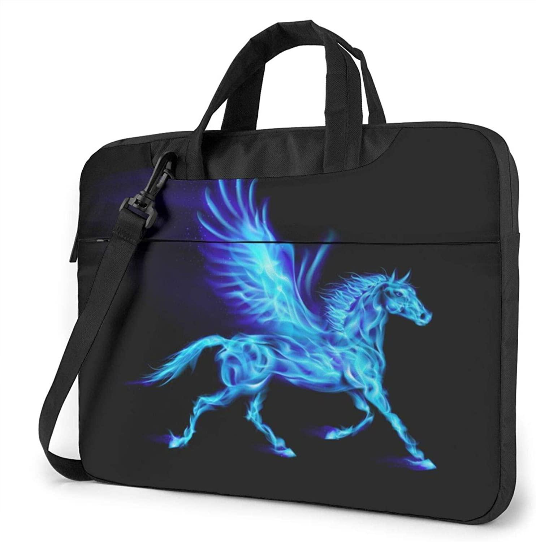 Unique Blue Fire Pegasus Laptop Shoulder Messenger Bag,Laptop Shoulder Bag Carrying Case with Handle Laptop Case Laptop Briefcase 15.6 Inch Fits 14 15 15.6 inch Netbook/Laptop