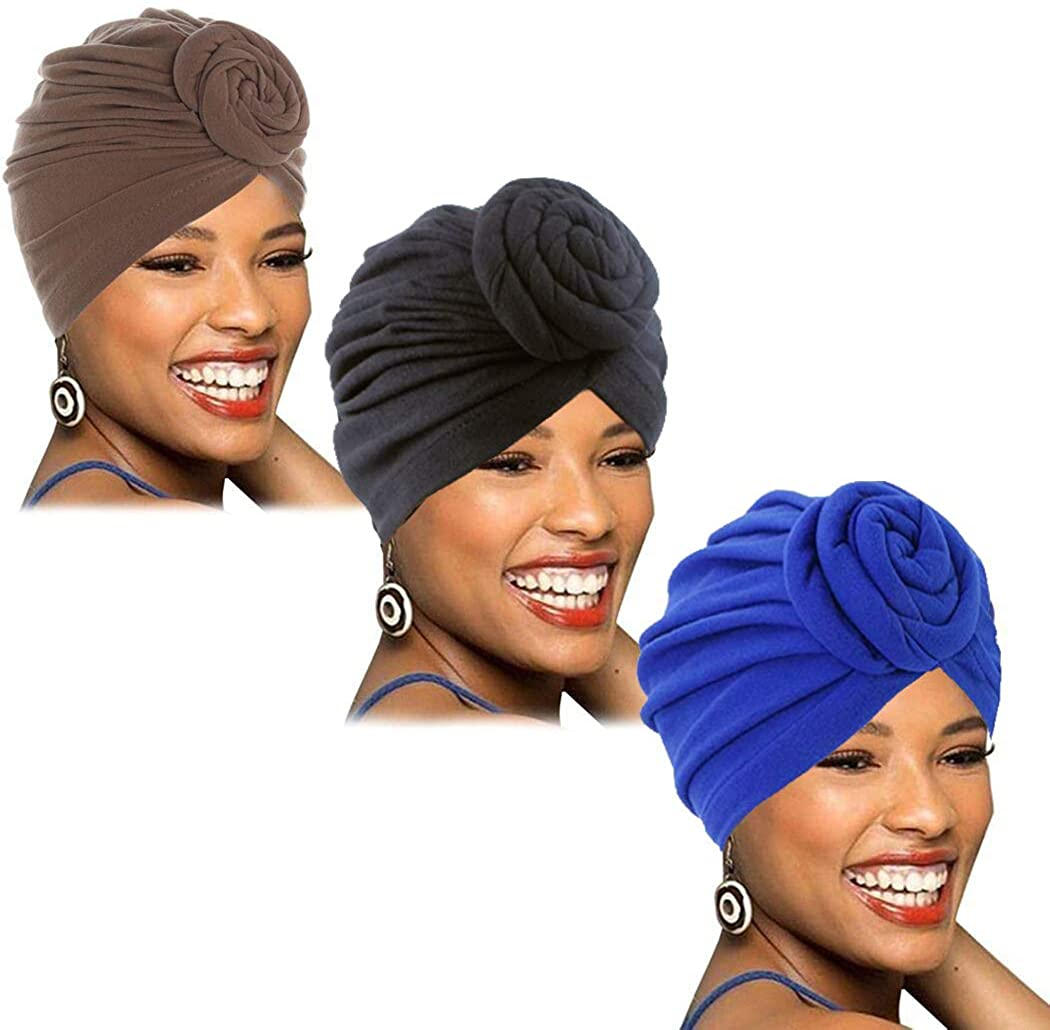 Gortin African Turban Pre-Tied Head Wraps Blue Pure Color Elastic Knot Beanie Bonnet Cap Headbands India Hat Hearwear for Women and Girls Pack of 3