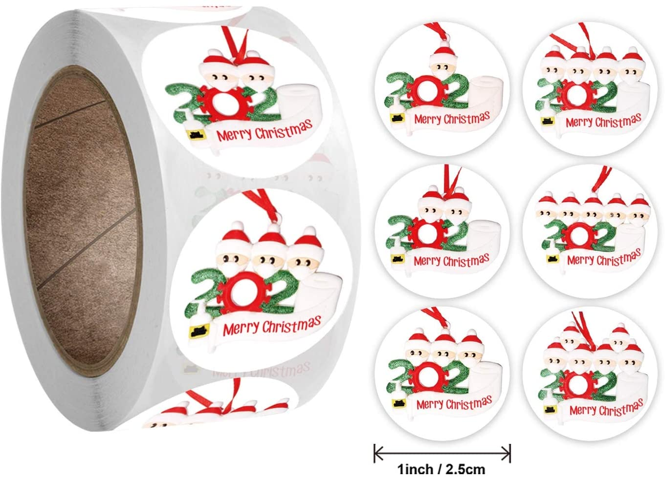 Christmas Stickers for Envelopes 500 Pieces, Christmas Tags Labels for Greeting Cards Seals Gift Boxes (1 Inch, Backup(in Stock))