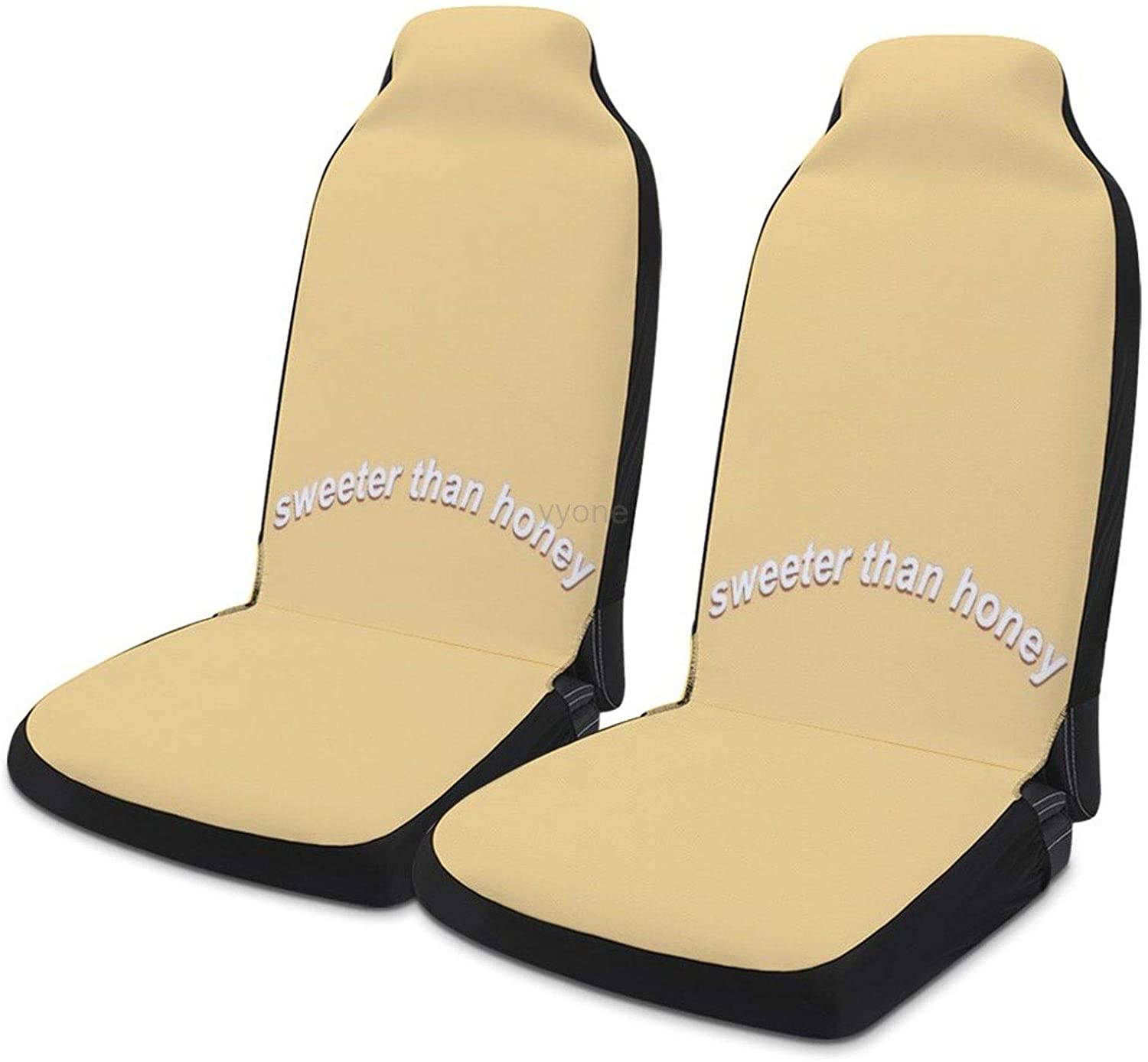 Sweeter Than Honey Universal Fit Car Seat Covers, 2pc Auto Front Drive Seats Protector Compatible Fits for Most Car SUV Sedan Truck Van