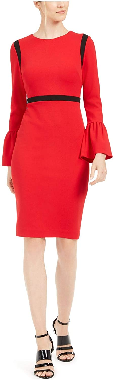 Calvin Klein Womens Red Striped Bell Sleeve Jewel Neck Knee Length Sheath Evening Dress Size 6