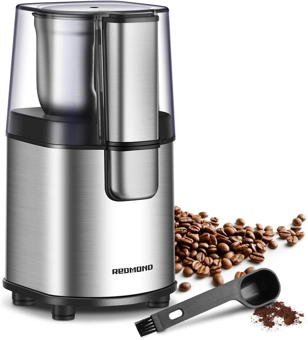 REDMOND Coffee Grinder Electric, Coffee Bean and Spice Grinder with 2.8 OZ/80 G Removable Stainless Steel Bowl For 12 Cups Of Coffee, 160W