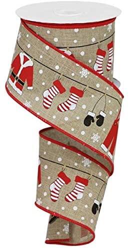 Craig Bachman Santa Clothesline Christmas Wired Edge Ribbon - 10 Yards (Ligh Beige, 2.5 Inch)
