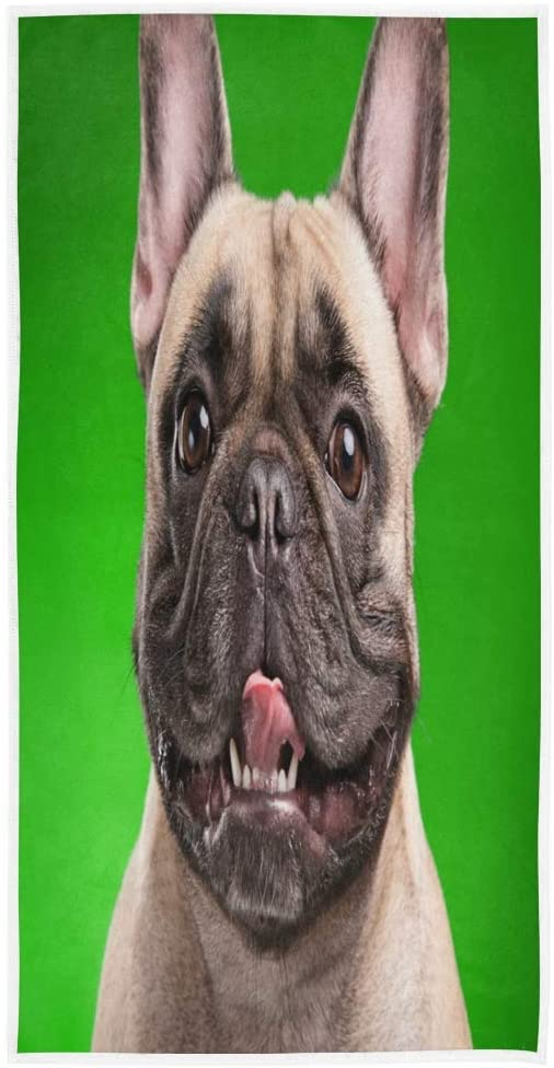 N\ A Bath Hand Towels Decorative Cartoon French Bulldog Puppy Dog Women's Large Soft Face Towels Bathroom Hotel Gym Spa Guest Salon Pool Towels Left Hand Towels Decorative 28in X 16in