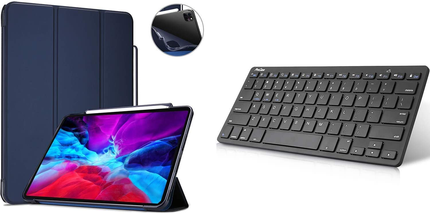 ProCase Navy iPad Pro 12.9 2020 2018 Soft Flexible Case with Apple Pencil Holder Bundle with Black Slim Compact Portable Wireless Keyboard