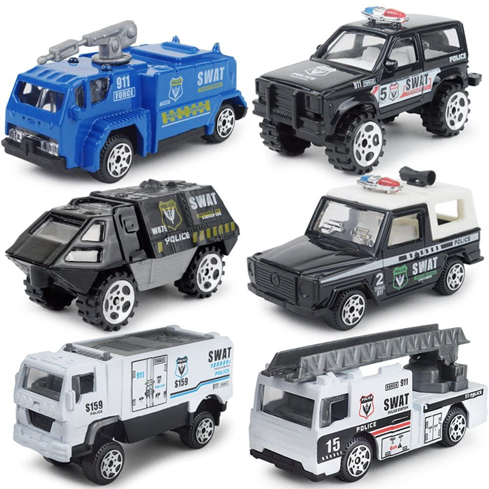 JQGT Diecast Police Cars Metal Playset Vehicle Models Collection Police Patrol Swat Truck Toy for Kids Pack of 6PCS