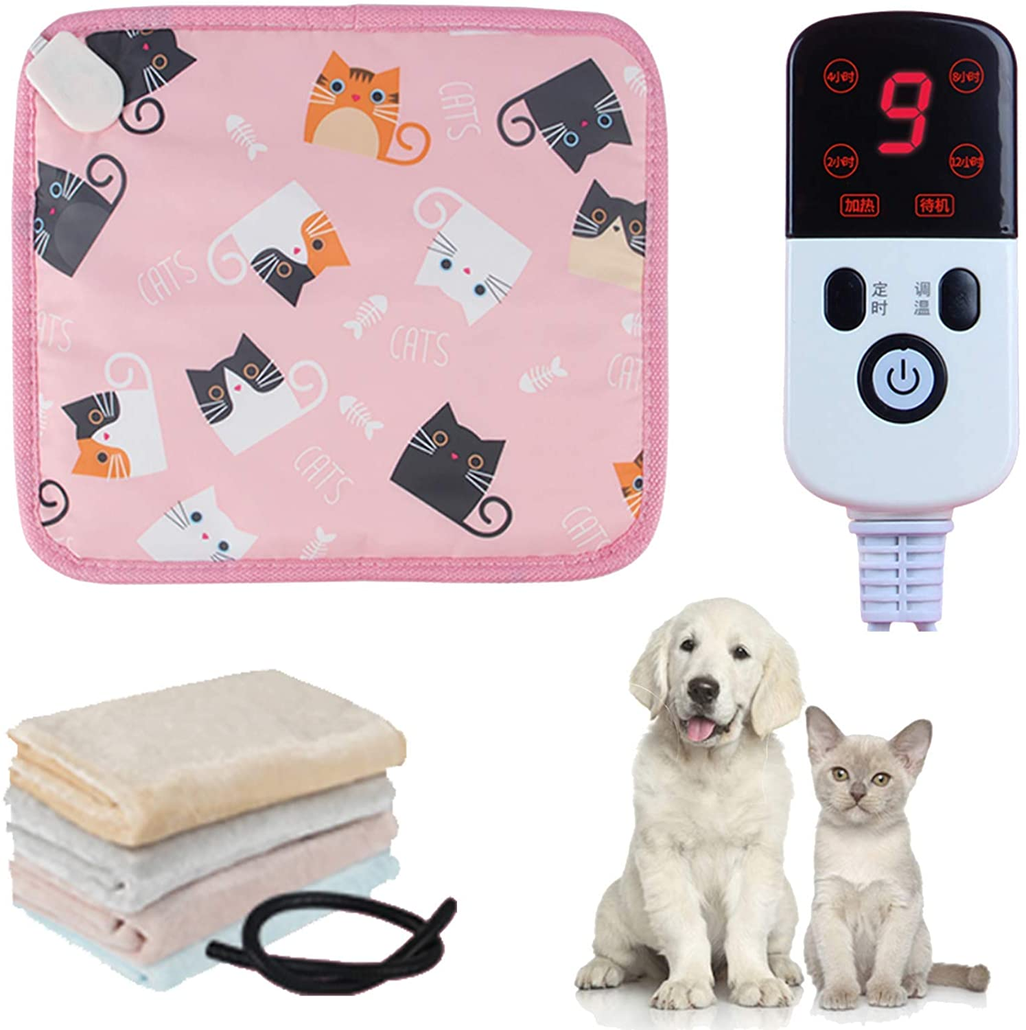 Safety Dog and Cat Heating Pad, Waterproof Indoor Movable Pet Electric Heating Pad, Adjustable Insulation Pad, Constant Temperature Heating Intelligent Timing, with Chewy Steel Rope,9 Gear Adjustment