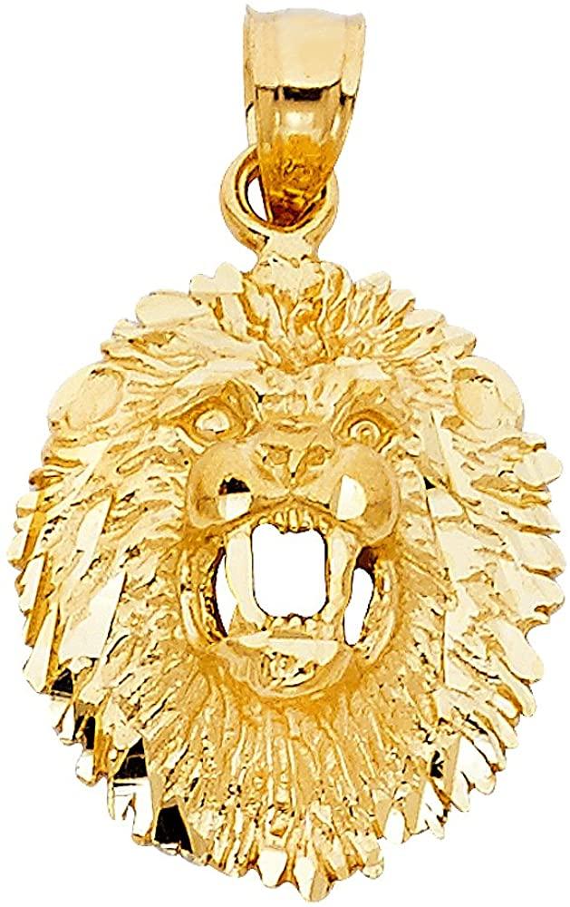 ZenJewels 14k Yellow Gold Lion Head Charm Leo Pendant Zodiac Sign Diamond Cut Polished Solid 21 x 18 mm